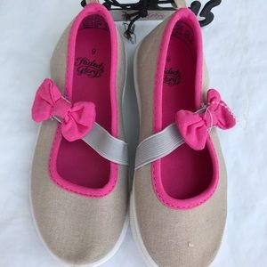NEW Toddler girls canvas bow flats size 9